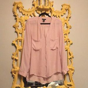 Ballet Pink Buttondown Gauze Top